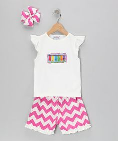 Take a look at this Pink Flip-Flop Chevron Shorts Set - Infant, Toddler & Girls by Molly Pop Inc. on #zulily today!