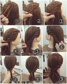 ヘアアレンジ Tip: When you reach step keep the two flat twists separate. Then, twist the hair near the nape into two twists. Finally, pin up all twists to create an updo. Popular Hairstyles, Girl Hairstyles, Medium Hair Styles, Short Hair Styles, Hair Arrange, Braided Hairstyles For Wedding, Pinterest Hair, Hair Designs, Hair Hacks