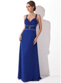 A-Line/Princess V-neck Floor-Length Chiffon Prom Dress With Ruffle Beading (018004890)