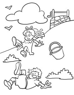 "here are some ""Jack and Jill"" themed coloring pages that will make your preschooler fall in love with this rhyme."