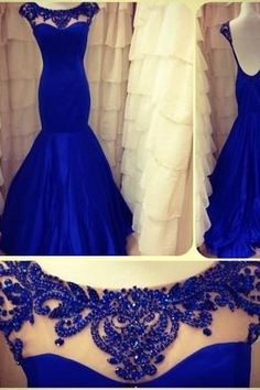 2018 royal Blue Evening Dresses Jewel Backless Sleeveless Lace Sheer Mermaid Taffeta Ruffles Appliques Flowers Prom Gown_Prom Dresses_Special Occasion Dresses_Buy High Quality Dresses from Dress Factory Royal Blue Evening Gown, Royal Blue Prom Dresses, Blue Evening Dresses, Mermaid Prom Dresses, Prom Party Dresses, Formal Dresses, Dress Prom, Mermaid Gown, Pageant Dresses