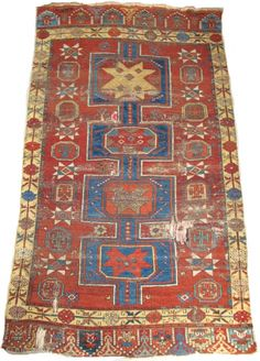"Central Anatolian Sızma / Konya area carpet, circa 1750, great colors, many colors including natural camel. iconic design. 7'7""x4'7"""