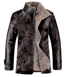Quality PU Leather Slim Fit Plush Lining Warm Jacket