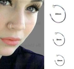 Sterling-Silver-925-Thin-Small-Silver-OPEN-Nose-Ring-Hoop-0-6mm-Piercing