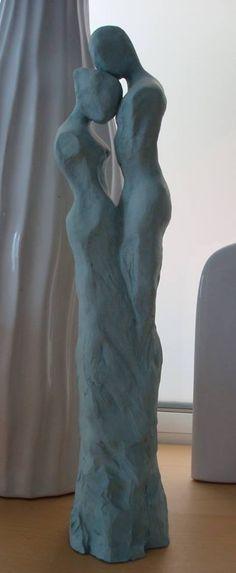 """I love you"": sculpture by C.lang Ⓜ Human Sculpture, Sculptures Céramiques, Art Sculpture, Abstract Sculpture, Sculpture Ideas, Ceramic Figures, Ceramic Art, Sculpting, Beautiful"