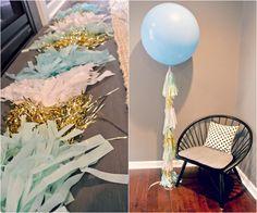 Pittsburgh in Polka Dots: Balloon Tassel DIY Pittsburgh in Polka Dots: DIY balloon tassel Tassle Garland Diy, Diy Tassel, Tassels, Big Balloons, Wedding Balloons, Graduation Party Planning, Balloon Tassel, Baby Shower, Bridal Shower