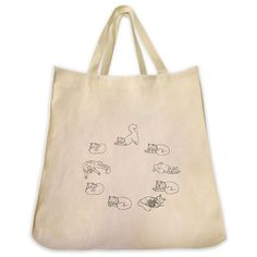 Yoga Cats Circle Outline Design Extra Large Eco Friendly Reusable Cotton Canvas Tote Bag