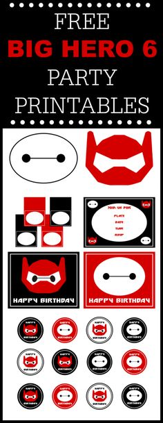 Big Hero 6 Free Printables, a perfect way to decorate your Big Hero 6 birthday parties! We've got invitations, welcomes signs, cupcake toppers, Baymax photo booth props and more! See more party planning ideas and party crafts at CatchMyParty.com.