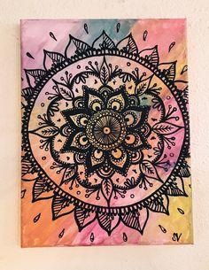 Rainbow Mandala Canvas Painting by MuseArtwork on Etsy https://www.etsy.com/listing/400021279/rainbow-mandala-canvas-painting