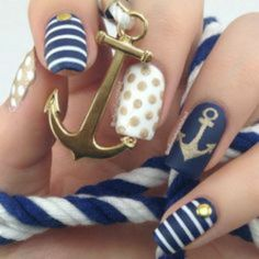 Blue and white nails with an anchor