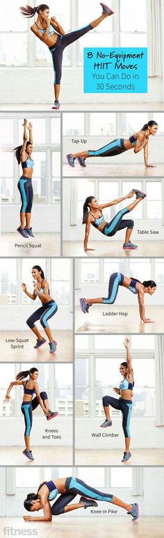No-Equipment HIIT Moves You Can Do in 30 Seconds These eight compound HIIT exercise moves use zero equipment and will fry and firm the flab—fast.These eight compound HIIT exercise moves use zero equipment and will fry and firm the flab—fast. Fitness Workouts, Yoga Fitness, Full Body Workouts, Lower Ab Workouts, Sport Fitness, At Home Workouts, Fitness Tips, Health Fitness, Fitness Equipment