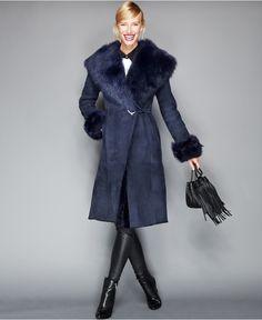 The Fur Vault Toscana Shearling Hooded Wrap Coat - The Fur Vault - Women - Macy's