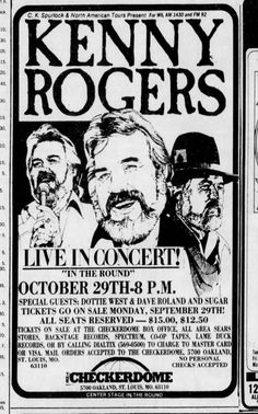 Kenny Rogers at the Checkerdome (Arena), 1980 Outlaw Country, Country Blue, Music Posters, Concert Posters, Dottie West, Newspaper Archives, American Tours, Jazz Band, Old Tv Shows
