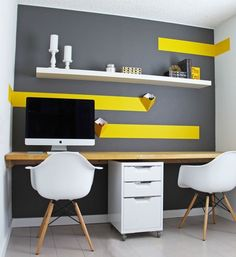 Budget home office design with white IKEA floating shelf - Decoist
