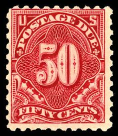 United States - Postage due stamps, 1914, 50¢ carmine lake (Scott J58), o.g., lightly hinged, attractive example of this major rarity, the rarest regularly issued Postage Due stamp, with fabulous bright color and sharp detailed impression, completely sound and choice, Fine, 2010 P.F. certificate.   Scott $ 12,500.   Estimate $ 5,000 - 7,500.    Dealer  Kelleher Auctions    Auction  Minimum Bid:  2500.00USD