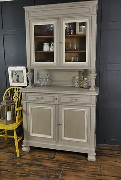 We adore this French Buffet Cupboard with it's stunning turned supports and ample storage, we think this would look great in a kitchen, hallway or living room! We've painted in a lightened version of Annie Sloan French Linen with Old White detailing. The inside drawers are in Annie Sloan Graphite. We've lightly sanded and aged with dark wax. http://www.thetreasuretrove.co.uk/kitchen-storage/shabby-chic-french-glazed-buffet-dresser