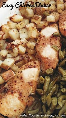 Easy chicken, green beans and potatoes, just a packet of Italian seasoning and butter-all in one dish!