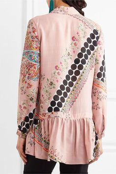 Etro - Pussy-bow Printed Silk Blouse - Pink - IT48