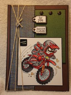 SU Stamp Extreme Dirt Bike Cards All Occasions Designs