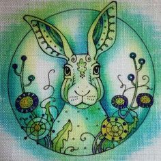 Your place to buy and sell all things handmade Embroidery Cards, Embroidery Patterns, Lavinia Stamps, Ink Stamps, Black And White Illustration, Fabric Painting, Hare, Blackwork