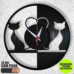 6f1b1cf324c Gatos - Relógio de Parede - Disco de Vinil - Arte no LP