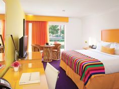 colorful room at The Saguaro Hotel in Scottsdale, AZ