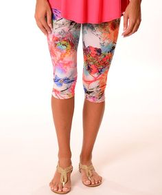 Look what I found on #zulily! Orange Art Deco Capri Leggings - Plus #zulilyfinds