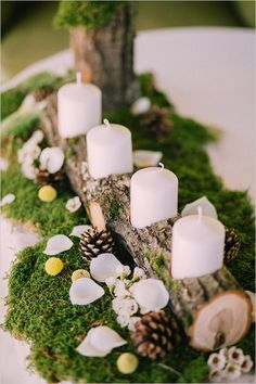 wedding winter wedding decorations candlestick from a wooden branch with white candles surrounded by pine cones on a green moss muse books via Christmas Wedding Centerpieces, Winter Wedding Decorations, Rustic Centerpieces, Christmas Decorations, Moss Wedding Decor, Centerpiece Ideas, Table Decorations, Moss Centerpiece Wedding, Moss Decor