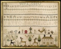 """At the top, Viva Gesu, followed by alphabets and numerals divided by small floral bands. In the lower register, symbols of the crucifixion, a grape arbor, deer, and a house.  This sampler is medium: silk embroidery on linen foundation technique: embroidered on plain weave. Its dimensions are: Frame H x W: 21.3 x 26 cm (8 3/8 x 10 1/4 in.).  It is inscribed """"Fatto de me C.B."""".  This sampler is from Italy and dated """"ca. 1820""""."""
