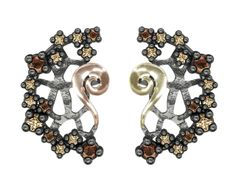 925/000 Sterling Silver Ear Ring Pink & Yellow 18k. Gold and CZ Brown & Champagne. Price : $449.26 #BohemmeJewelry