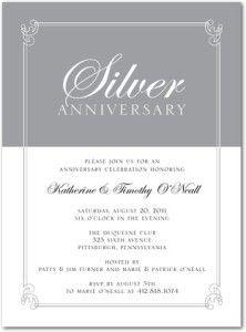 25th wedding anniversary invitation glitter silver white 25th anniversary party invitation stopboris Image collections
