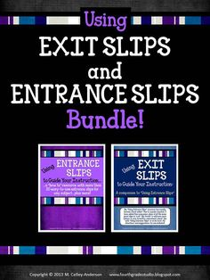 """This is a bundled set of my """"exit slips"""" and """"entrance slips"""" resources...at a great price! This has rapidly become one of my best sellers and teachers are finding so many creative ways to measure student learning and help plan for instruction! $7.50"""