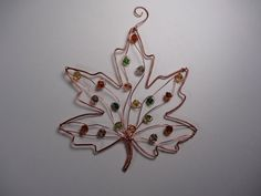 Copper wire fall maple leaf garden plant stake suncatcher decoration art - upcycled - great garden gift