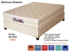 Glorious Dreams Mattress + Base - Sleep Sense - Max 100kg per person