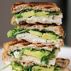Avocado, spinach, turkey and swiss on toasted whole wheat bread.