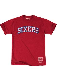 1ad4fb15d Mitchell and Ness Philadelphia 76ers Mens Red Pushed Wordmark Short Sleeve  Fashion T Shirt