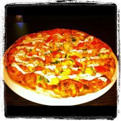 Wood fired groove train pizza