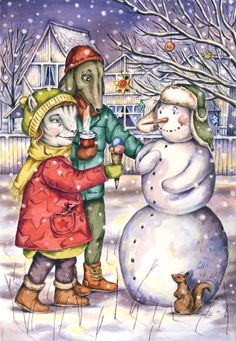 Illustration by Gerda Märtens. Inspired by Farištamo Susi's children's book 'Niru, Vääks and Friends'. HAPPY HOLIDAYS!