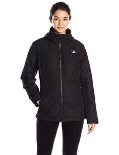 Champion Women's 3-In-1 Jacket with Fleece Inner Shell, Black/Black, XL