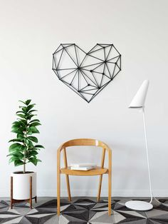 geometric heart wall art by glyphs design Heart Wall Art, Geometric Heart, Contemporary Wall Art, Living Room Art, Glyphs, Interior Design, Home Decor, Nest Design, Decoration Home