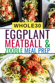 Easy to make Eggplant Meatballs and Zoodle Meal Prep is great for Meatless Monday since we subbed meat for eggplant. and it's compliant too! Lunch Recipes, Healthy Dinner Recipes, Beef Recipes, Breakfast Recipes, Vegetarian Recipes, Meatless Whole 30 Recipes, Avocado Recipes, Vegan Meals, Veggie Recipes