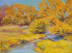 Gold Lined Stream - Original Fine Art for Sale - © by Mary Schiros