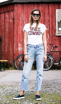 How the Most Stylish Women Pull Off High-Waisted Jeans via @WhoWhatWear