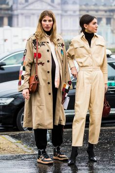Veronika Heilbrunner and Diletta Bonaiuti are seen in the streets of Paris before the Loewe show during Paris Fashion Week Womenswear Fall/Winter...