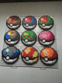 The Apricorn PokeBalls of Johto by TehMorrison on DeviantArt - PokeBalls perler beads by TehMorrison … - Perler Bead Designs, Perler Bead Templates, Hama Beads Design, Hama Beads Pokemon, Diy Perler Beads, Perler Bead Art, Fuse Bead Patterns, Perler Patterns, Weaving Patterns