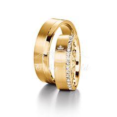 Par de Alianças de Casamento com Diamantes na Lateral
