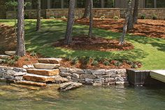 Treasured water - Caring for Lake Martin Lake Landscaping, Natural Landscaping, Cheap Landscaping Ideas, Lake Dock, Lake Beach, House Landscape, Beach Landscape, Landscape Design, Lakeside Living