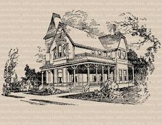 Victorian Two Storey House Clip Art Image – 1917 Architecture Illustration – Vintage Graphic Art Image – instant download clipart - CU OK