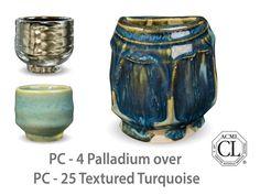 AMACO Potter's Choice layered glazes PC - 25 Textured Turquoise and PC - 4 Palladium.