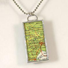 Detroit Vintage Map Pendant Necklace